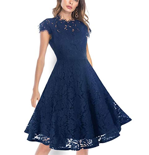 Women's Sleeveless Floral Lace Slim Evening Cocktail Mini Dress for Party DM261 (M, Blue Swing)
