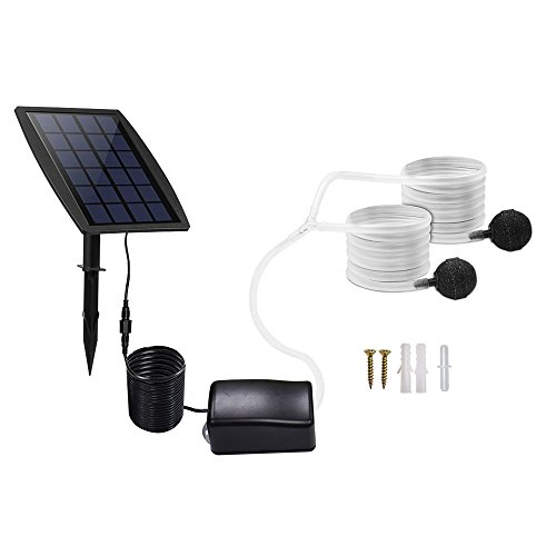Aoile Solar-powered Oxygen Pump Oxygenator for Outdoor Fishing Fish Tank Aquarium by