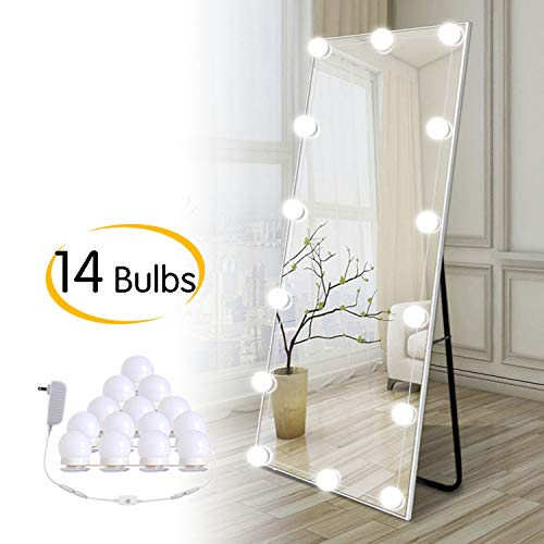 Hollywood DIY LED Vanity Lights Strip Kit with 14 Dimmable Light Bulbs for Dressing Mirror & Makeup Table Mirror, Plug in Vanity Mirror Lights with Power Supply, White (No Mirror Included) (Mirror Long Body)
