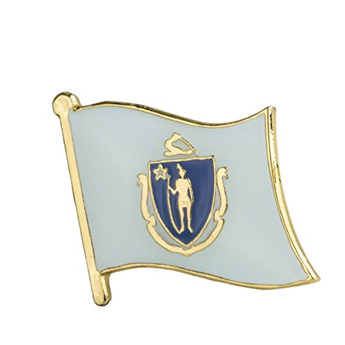 Massachusetts Flag Lapel Pin 19 x 16mm Hat Tie Tack Badge Pin