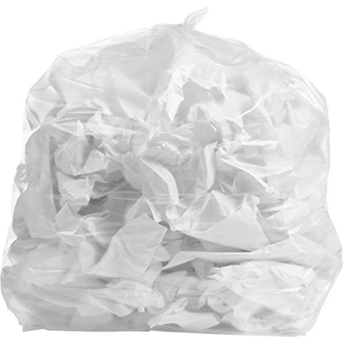 PlasticMill 12-16 Gallon, Clear, 1 Mil, 24x31, 250 Bags/Case, Garbage Bags/Trash Can Liners. 1 Mil Bags