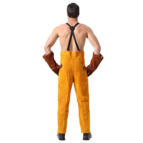 Leather Welding Pants Chaps Trousers Flame/Heat/Abrasion Resistant Cowhide Leather Worker Britches Romper for Welding Protection (XL) by Generic (Image #2)