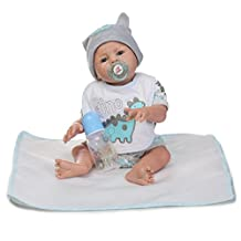 Decdeal 20inch Reborn Baby Doll Baby Bath Toy Full Silicone Body Lifelike Cute Boys Toy
