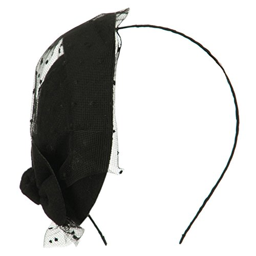 Felt Round Crown Fascinator Headband - Black OSFM