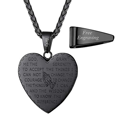 (U7 Engraved Serenity Prayer Necklace Men Women Ion-Plating Black Metal Stainless Steel Rope Chain & Heart Praying Hands Bible Verse Necklace Pendant, 22