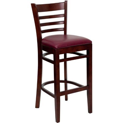 MFO Mahogany Finished Ladder Back Wooden Restaurant Bar Stool - Burgundy Vinyl Seat - Finished Mahogany Bar Stool
