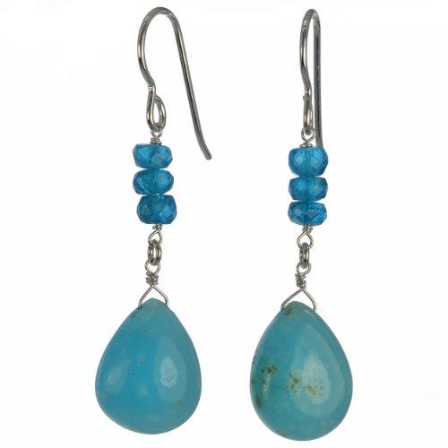 (ASHANTI Rare Gem Hemimorphite Smooth Briolette and Madagascan Neon Apatite Natural Gemstone Handmade Earrings)