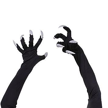 Guantes de Halloween para disfraz de gato, estilo macabria, para mujeres, hombres y mujeres, guantes de mano negros con garra de animales talla única negro: ...
