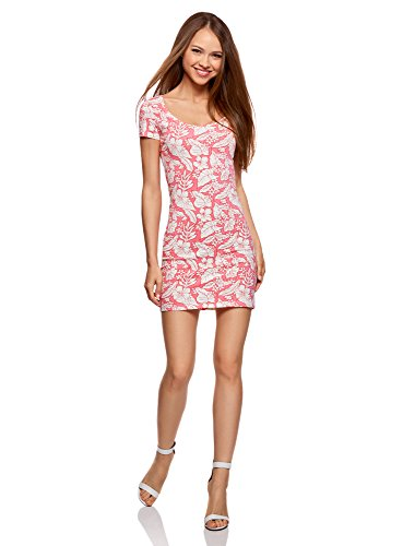 oodji Ultra Mujer Vestido Ajustado de Punto Rosa (4130F)