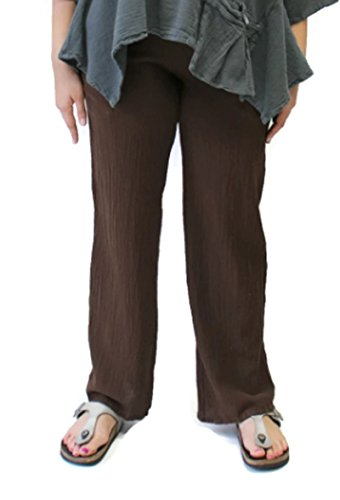 Oh My Gauze Women's Basic Cotton Pant (3 (0X/1X), Mocha)