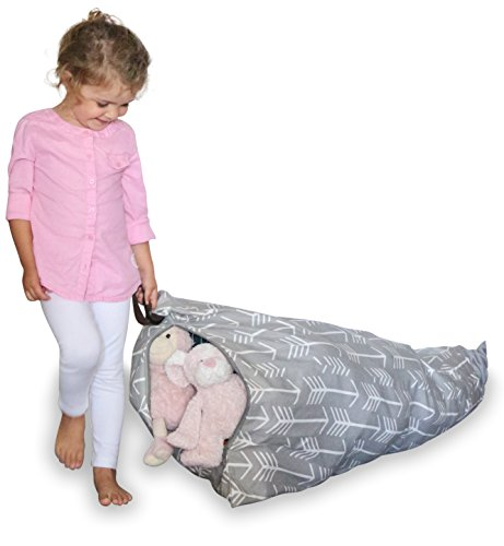MiniOwls Storage Bag – Stuffed Toy Organizer When Filled, Turns into Bean Bag SEAT- Fits 30-40 Plush Animals or 100L/26 gal of Filler (Gray, Large)