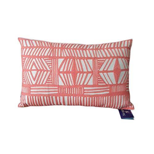 Aitliving Accent Pillowcase Tribal Design Throw Pillow Sham Bolero Geometric Boho Embroidered Cotton Canvas 1 pc Coral Red 12x20 30x50cm ()