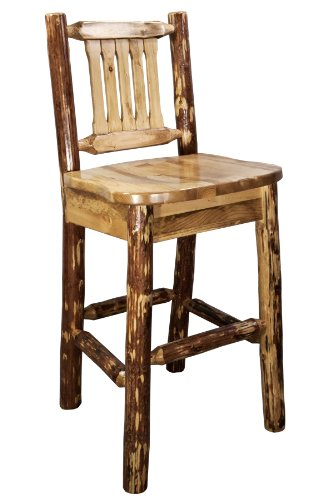 Montana Woodworks Glacier Country Collection Barstool with Back and Ergonomic Wooden Seat