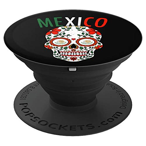 Vintage Mexico Sugar Skull Mexican Pride Halloween PopSockets Grip and Stand for Phones and Tablets -