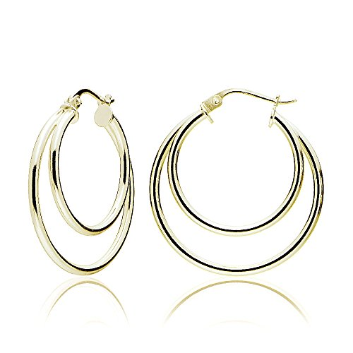 Yellow Gold Flashed Sterling Silver Double Circle Round-Tube Polished Hoop Earrings, - Round Gold Hoop Double