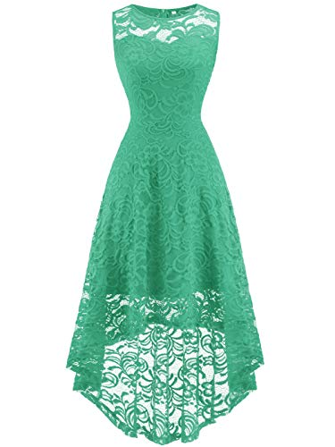 FAIRY COUPLE Women's Vintage Floral Lace Hi-Lo Sleeveless Cocktail Formal Swing Dress DL022A (2XL,Light Green)