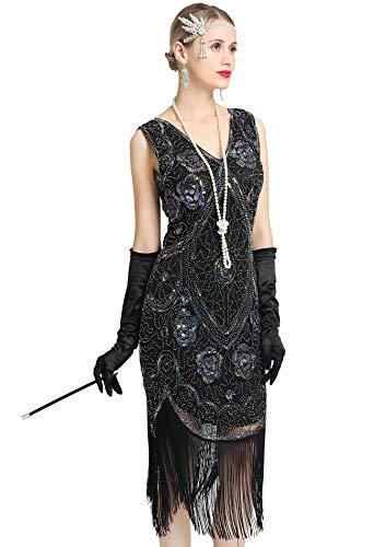 Women's Great 1920s Gatsby Costume Inspired Sequin Fringe Flapper Dress Sleeveless (Black, -