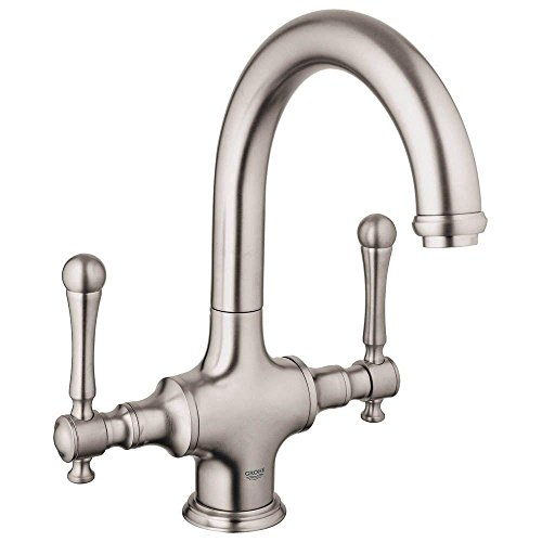 Grohe 31055ENE   Bridgeford 2-Handle Bar Faucet in Brushed Nickel with 1.5gpm Water Care-Handles Not Included (Bronze Kitchen Bridgeford)