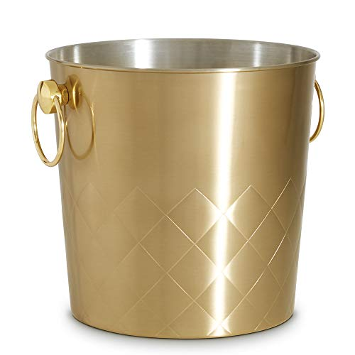 (VonShef Gold Champagne Bucket with Carry Handles, 5.3Qt, Brushed Gold Stainless Steel Ice Bucket with Gift Box)