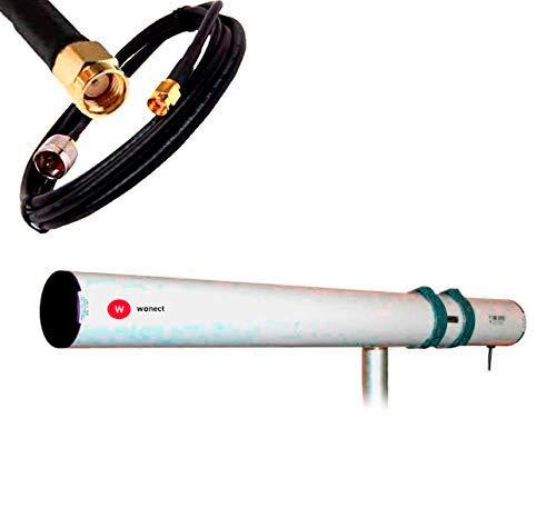 Antena WiFi Yagi direccional larga distancia con cable pigtail terminado en conector RP-SMA para conectar en receptor WiFi con conexión antena ...