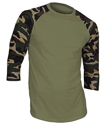 Hat and Beyond Men's Baseball Raglan 3/4 Sleeves Casual T-Shirts Plain Cotton Jersey S-3xl (2X-Large, Olive/Camouflage) 3/4 Sleeve Cotton Hat