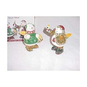 Debbie Mumm Snow Angel Village Salt & Pepper Shakers by Sakura