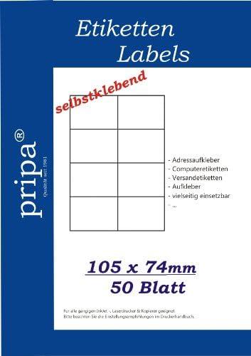 Klebeetiketten 20 Formate zur Auswahl = 50 Blatt DIN A4 selbstklebend PRIPA