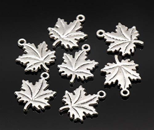 kakroz 6 Pcs Maple Leaf Charms Leaf Pendants Antique Silver Tone 2 Sided 19x15mm - YD3268