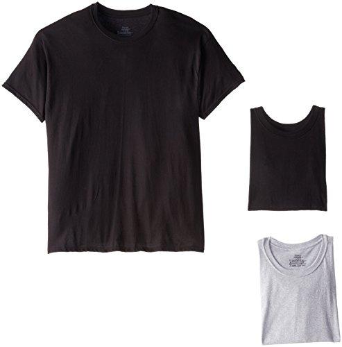 Hanes Men's ComfortSoft Tagless T-Shirts 2165 (Medium/Grey/Black) - 4 pack
