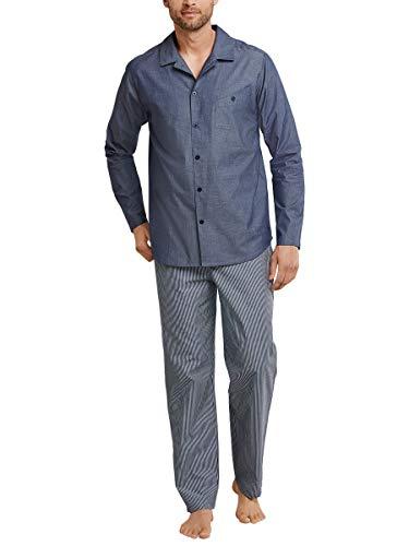 Seidensticker Herren Chambray Pyjama Lang Zweiteiliger Schlafanzug