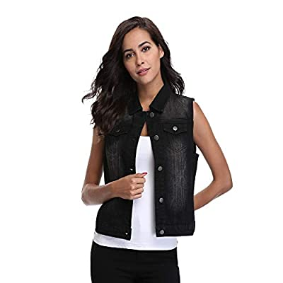 MISS MOLY Women Denim Vest Sleeveless Cropped Jean Vest Jacket with Chest Pockets at Women's Coats Shop
