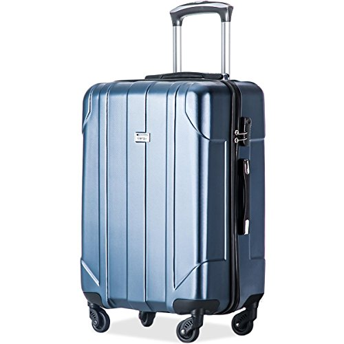 Merax P.E.T Luggage Light Weight Spinner Suitcase 20inch 24inch and 28 inch Available (24-Checking in, Blue)