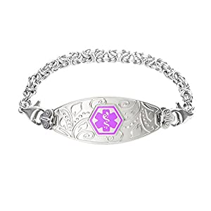 Divoti Deep Custom Laser Engraved Lovely Filigree Medical Alert Bracelet -Stainless Handmade Byzantine-Purple