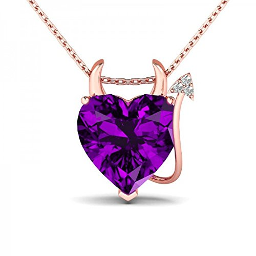 Rose Gold Plated Devil Heart Cut Amethyst Pendant Necklace