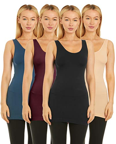 Unique Styles 4 Pack Layering Tank Tops for Women Camisole Regular and Plus Size (Regular Size (S,M,L), Black, Denim, Chocolate, Beige)