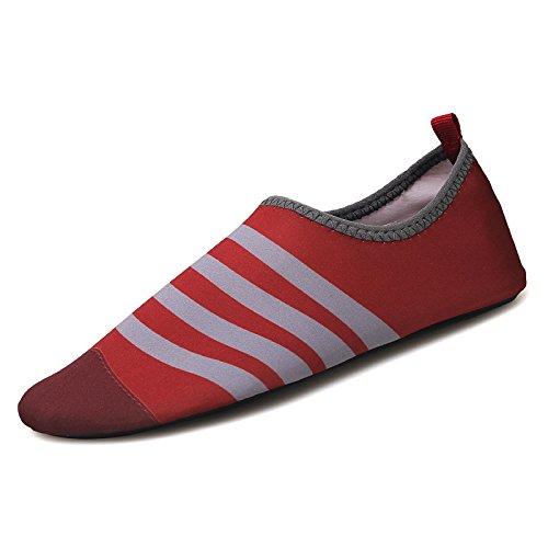 deportivos la de cuidado buceo al los vino de zapatos zapatos aire Lucdespo libre calzado la piel rojo Natación correr antideslizante ash playa cintas descalzo el SK5 en awaqTO7Pp