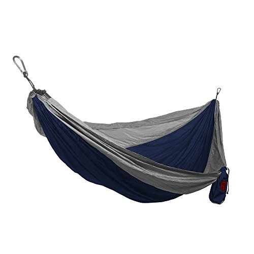 Grand Trunk Double Parachute Hammock | Compact Portable Nylon Two Toned Hammock with Carabiners and Hanging Kit - Navy/Silver