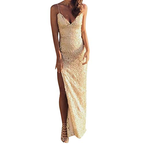 Women's Lace High Split Formal Prom Gowns V-Neck Spaghetti Strap Evening Maxi Dress Yellow