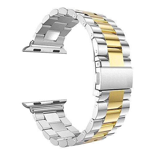 - Inozama Sporty Band Compatible with Apple Watch, Solid Stainless Steel Folding Clasp Replacement Band for Apple Watch iWatch Series 1 Series 2 Series 3 Series 4 (42MM/44MM Silver/Gold)