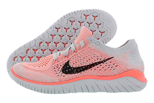 Nike Womens Free Rn Flyknit 2018 Low Top Lace Up Running, Size 6.5, Crimson Pulse / Black