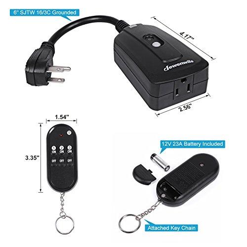 Dewenwils Outdoor Indoor Wireless Remote Control Outlet
