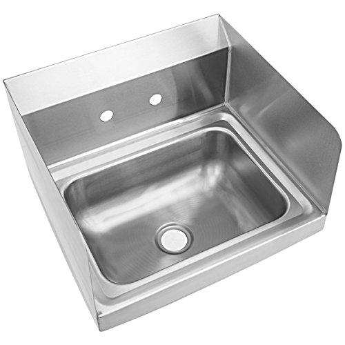 Giantex Stainless Steel Hand Washing Sink with Wall Mount Faucet & Side Splashes NSF Commercial Kitchen Heavy Duty Hot & Cold Temperature Water Inlet Washing Basin, Silver by Giantex (Image #8)