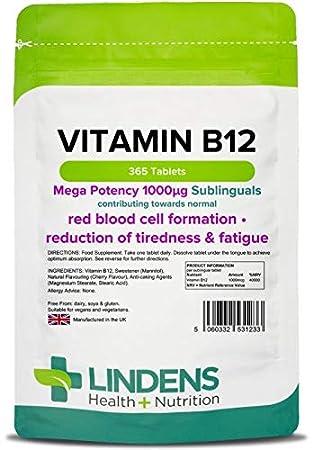 Lindens VITAMINA B12 1000mcg Sublingual Pastillas 365 PACK UK fabricante apto para Veganos y VEGETARIANOS: Amazon.es: Salud y cuidado personal