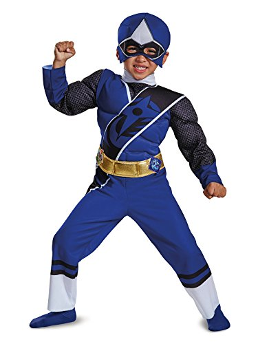 Power Rangers Ninja Steel Toddler Muscle Costume, Blue, Small (2T) ()