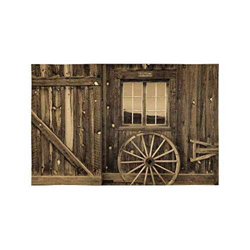 InterestPrint Ancient West Rural Town Centennial Ranch Barn Wooden Wall Washable Fabric Placemats Set of 4 Heat Insulation Dining Table Mats Non-slip Washable Place Mats, 12 x 18 Inches