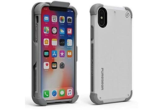PureGear DualTek Extreme Shock Hip Case/Holster for iPhone Xs/X White (Puregear Dualtek Extreme Shock)