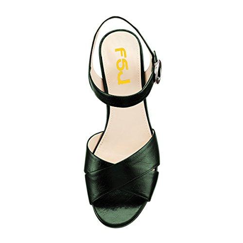 Fsj Kvinder Sommer Ankel Rem Chunky Hæl Sandaler Peep Toe Platform Komfortable Sko Str 4-15 Os Grøn vJRfGMYNz