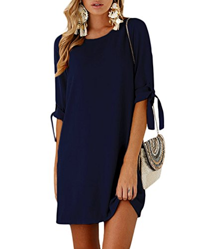 - YOINS Women Mini Dresses Summer T Shirt Solid Crew Neck Tunics Self-tie Half Sleeves Blouse Dresses Navy XL