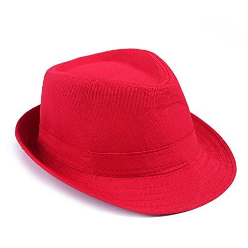 HDE Kid's Short Brim Trilby Fedora Hat (Red)
