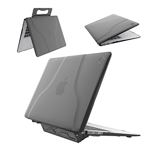 Macbook Air 13 inch Case, Roiskin Apple Macbook Air 13 Inch Hard Shell Cover (A1369 / A1466), Portable Handle Stand Laptop Computer Folio Cases with Crackproof, Slip-Resistant Feet- Black